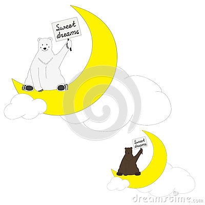 Polar and brown bears wish sweet dreams