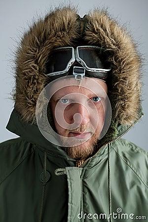 Polar in a green jacket