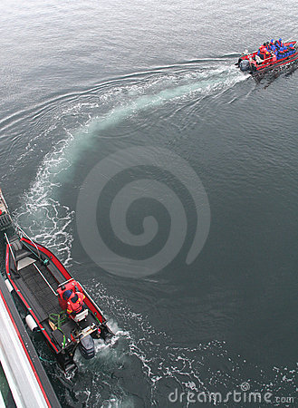 Polar landing boats  ferrying cruise tourists