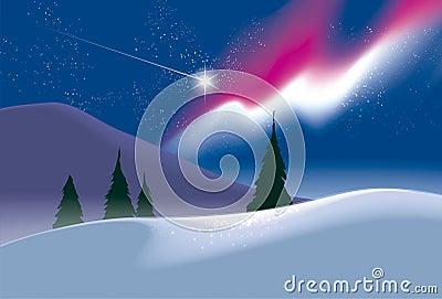Polar landscape. Northern lights.