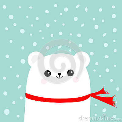 Free Polar White Little Small Bear Cub Wearing Red Scarf. Head Face With Eyes And Smile. Cute Cartoon Baby Character. Arctic Animal Col Royalty Free Stock Photography - 98842987