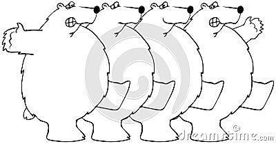 Polara björnar som dansar i unisont