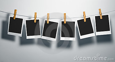 Polaroid film blanks on rope stock photo image 3811460 - Cadre photo avec pince linge ...