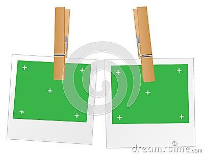 Polaroid with green screen