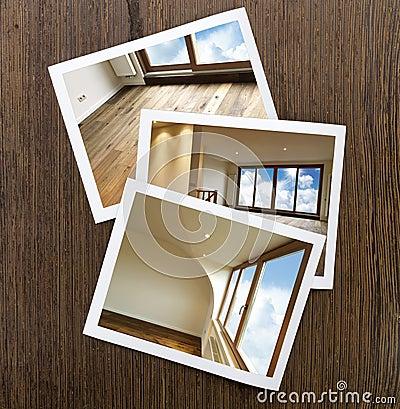 Polaroid-Hölzerner Boden und Fenster