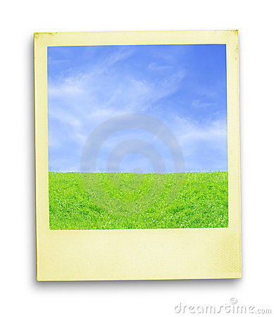 Polaroid Photo: Blue Sky And Green Grass
