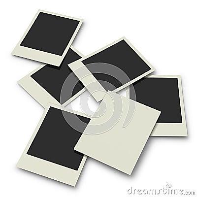Polaroid prints on white background