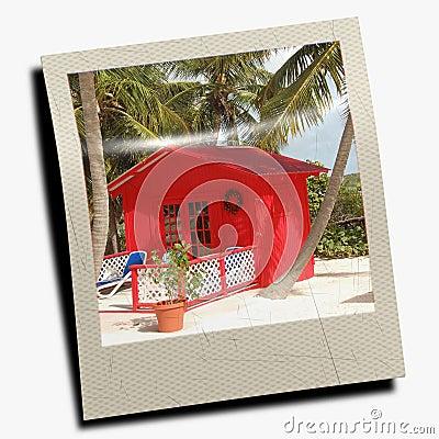 Polaroid slide of beach scene