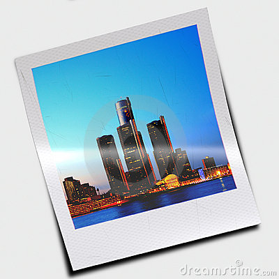 Polaroid slide of skyscrapers