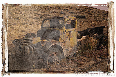 Polaroid transfer of old truck