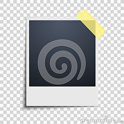 Polaroid on a transparent background. Photo frame. Yellow scotch tape. Vector Cartoon Illustration
