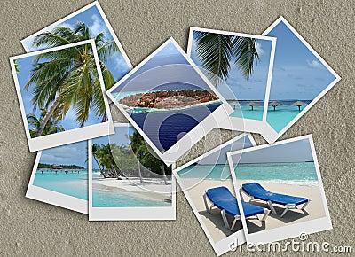 Polaroids collage on sand