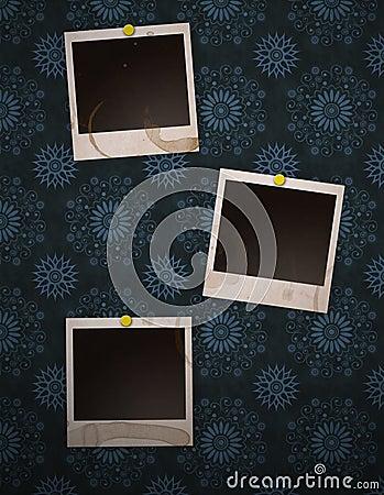 Polaroids on retro wall