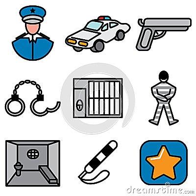 Polícia e ícones da cadeia