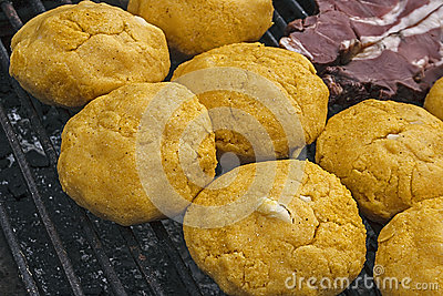 Polenta with cheese and meat