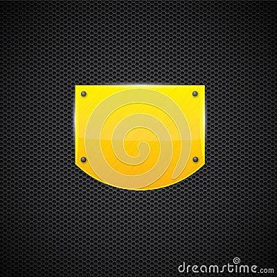 Polerad gul platta för sköldstilmetall