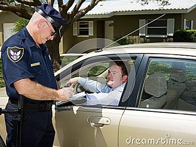 Policía - boleto de la escritura