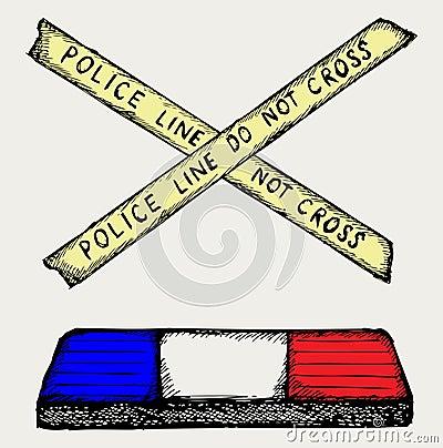 Policía y cinta el contellear