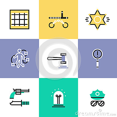 Free Police And Crime Pictogram Icons Set Royalty Free Stock Images - 50848999