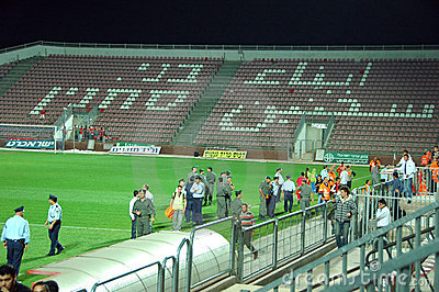 Police in Bnei Sakhnin empty stadium Editorial Image