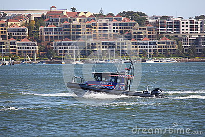Police boat on patrol in harbour Editorial Photo