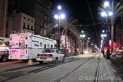 Police on Canal Street Editorial Photo