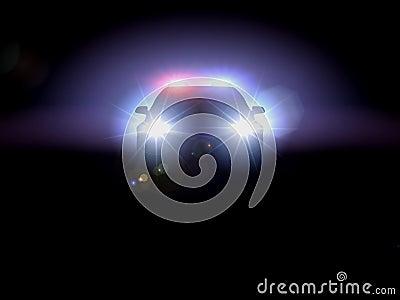 Police car in darkness