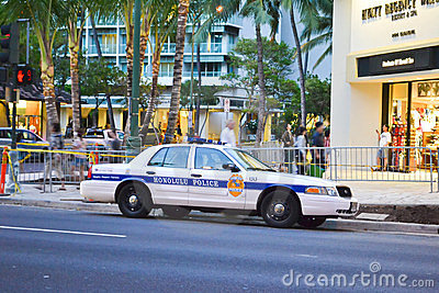 Police car in Honolulu Editorial Stock Image