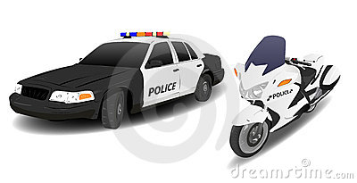 Police Car and Motorbike