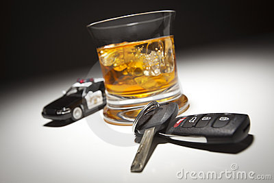 Police Car Next to Alcoholic Drink and Car Keys