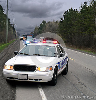 Free Police Car On Side Of Road Stock Images - 24652214