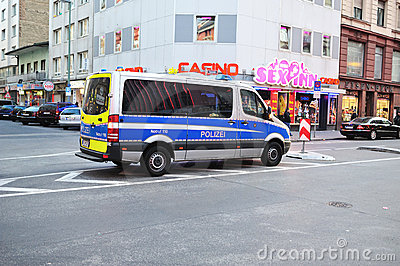 Police car in red district in Frankfurt Editorial Image