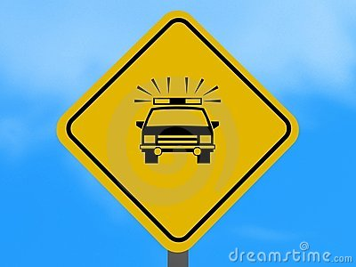 Police car road sign