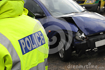 Police at a car crash