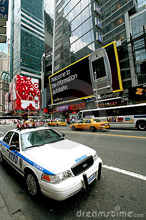 Police car is standing on the Times Square Editorial Stock Image