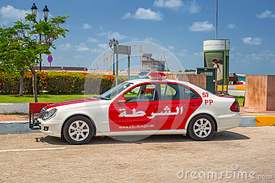 Police car on the street of Abu Dhabi Editorial Photography