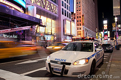 Police car on Times Square New York at night Editorial Photo