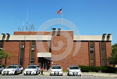 Police cars in the front of NYPD 61st Precinct in Brooklyn , NY Editorial Photography
