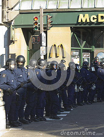 Police in crowd control gear Editorial Photo