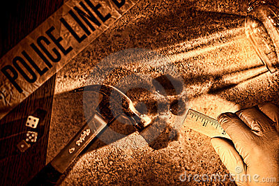 Police CSI Investigator Hand at Murder Crime Scene