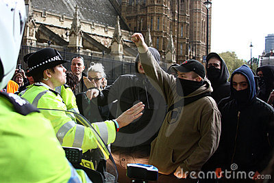 Police and demonstrators in London on 1 May Editorial Photo