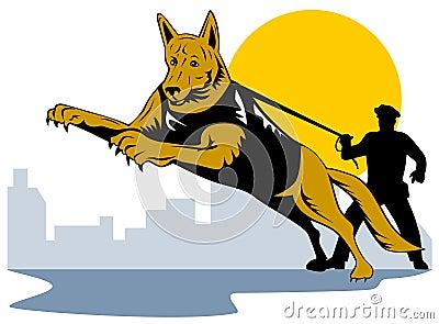 Police dog with policeman