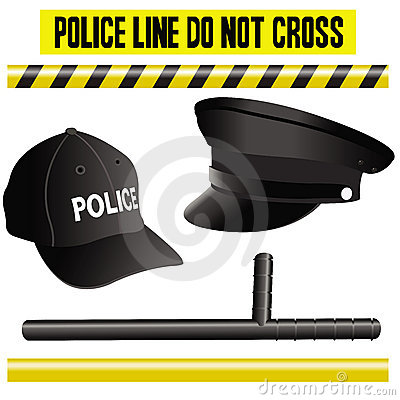 Police elements collection, hat, bat and signals