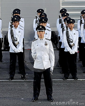 Police guard-of-honor contingent at NDP 2009 Editorial Photography