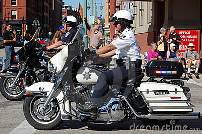 Police on Harley Motorcycles Editorial Stock Photo