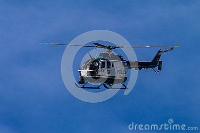 Police Helicopter Blue Sky Editorial Stock Image