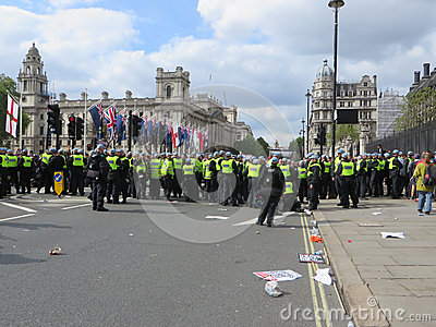 Police hold the line against Anti Fascists during during a BNP p Editorial Photography
