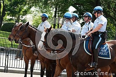 Police on Horseback at White House Editorial Image