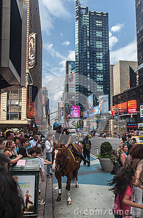 Police Horseman at Times Square New York City Editorial Photography