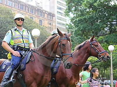 Police horses mounted Editorial Image